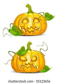 Malicious & kind grimace pumpkin, halloween vector illustration