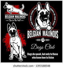 Malinois, Belgian Malinois, Belgian Shepherd Dog - vector set for t-shirt, logo and template badges in monochrome style