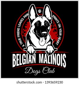Malinois, Belgian Malinois, Belgian Shepherd Dog - vector illustration for t-shirt, logo and template badges