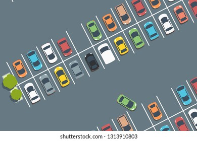 Mall car park. Vector parked cars. Simple illustration.