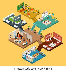 Mall Isometric icon set with conceptual 3d map of multistory shopping center with different floors and areas vector illustration