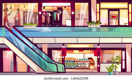 f0594807 Mall with shops and cafes vector illustration. Escalator staircase with  grocery store supermarket, menswear