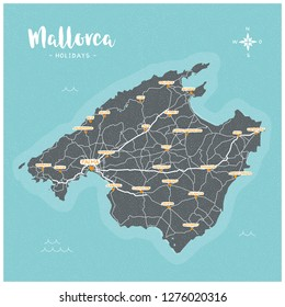 Mallorca Island Holiday Map, Majorca, Baleares, Spain, with streets and cities