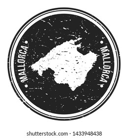 Mallorca Spain. Map Symbol Round Design Stamp Travel and Business.