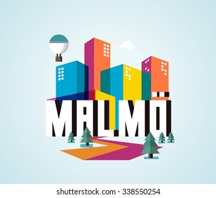 Malmo beautiful city in europe. vector cartoon illustration