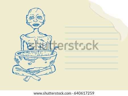 cb9e414c3 Malnourished person or child Pen and Ink Drawing on a notepad concept.  Editable Clip Art