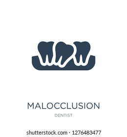 malocclusion icon vector on white background, malocclusion trendy filled icons from Dentist collection, malocclusion vector illustration