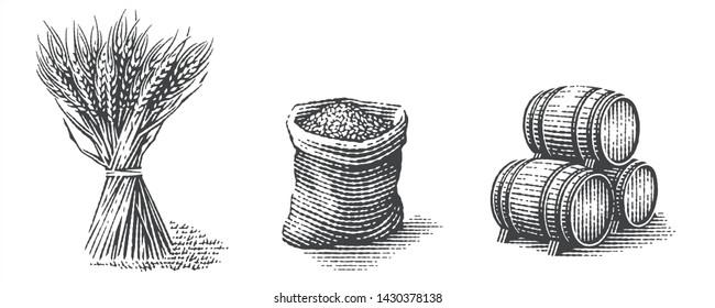 Malt in burlap bag, sheaf of wheat and wood barrels. Hand drawn engraving style illustrations.