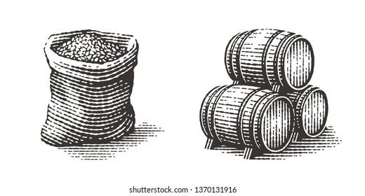 Malt in burlap bag and wood barrels. Hand drawn engraving style illustrations.