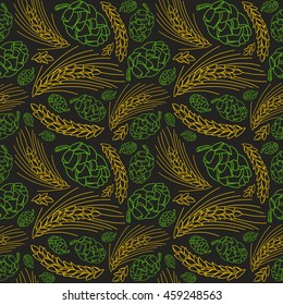 Malt and cone hop seamless pattern. Ingredients for brewing beer. Color print on black  background