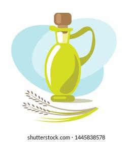 Malt vinegar and rice. Design element for leaflet, booklet or sticker. Harvest symbol. Ingredient for cooking, baking, salad dressing and preservation.