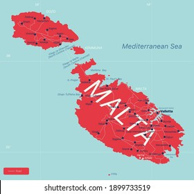 Malta country detailed editable map with regions cities and towns, roads and railways, geographic sites. Vector EPS-10 file