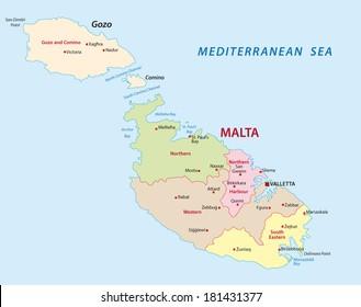 malta district map