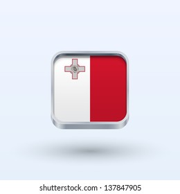 Malta flag icon square form on gray background. Vector illustration.