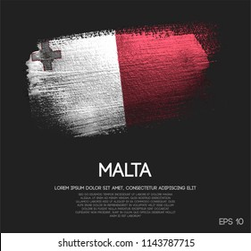 Malta Flag Made of Glitter Sparkle Brush Paint Vector