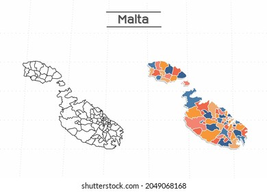 Malta map city vector divided by colorful outline simplicity style. Have 2 versions, black thin line version and colorful version. Both map were on the white background.