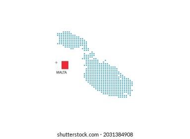 Malta map design blue circle, white background with Malta flag.