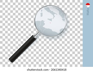 Malta map with flag in magnifying glass on transparent background. Vector loupe with map.