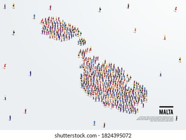 Malta Map. Large group of people form to create a shape of Malta Map. vector illustration.