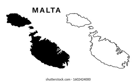 Malta Map Vector - Map of Malta Europe Black Silhouette and Outline Isolated on White