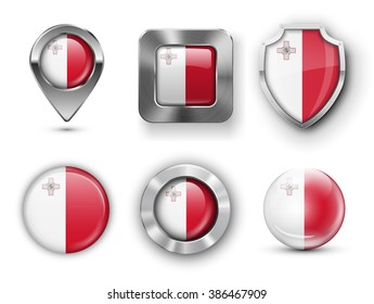Malta Metal and Glass Flag Badges, Buttons, Map marker pin and Shields. Vector illustrations