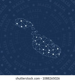Malta network style island map. Comely space style, modern design for infographics or presentation.