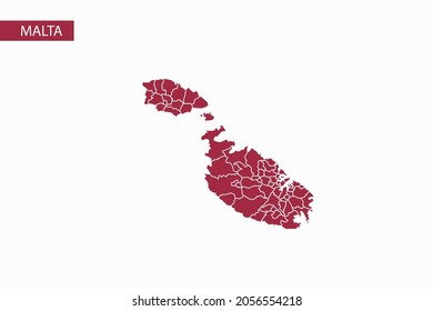Malta red map detailed vector.
