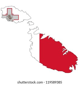 Malta vector map with the flag inside.