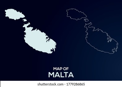 Malta vector map silhouette isolated. Abstract design, High detailed silhouette illustration. Full Editable Malta map vector file.Malta vector map silhouette isolated. Abstract map design