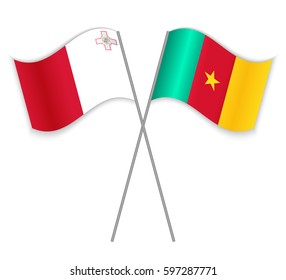 Maltese and Cameroonian crossed flags. Malta combined with Cameroon isolated on white. Language learning, international business or travel concept.