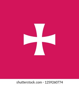 Maltese Cross icon vector. Maltese Cross sign on pink background. Maltese Cross icon for web and app