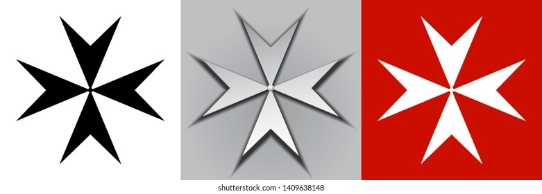 Maltese cross vector illustration. Three variants