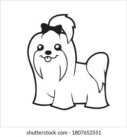 Maltese cute Dog Line Drawing, cute dog vector illustration