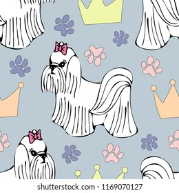 Maltese dog cute puppy seamless pattern