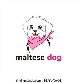 Maltese dog wear pink bandanas and vector design elements, cartoons, characters, dog fashion designs, and logo illustrations.