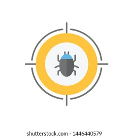 Malware bug in target vector icon. Network Vulnerability - Virus, Malware, Ransomware, Fraud, Spam, Phishing, Email Scam, Hacker Attack - IT Security Concept Design, Vector illustration