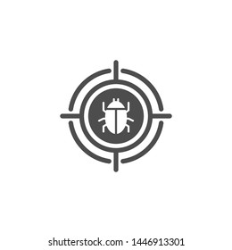 Malware bug in target vector icon. Network Vulnerability - Virus, Malware, Ransomware, Fraud, Spam, Phishing, Email Scam, Hacker Attack - IT Security Concept Design, Vector illustration.
