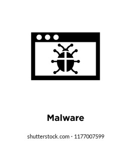 Malware icon vector isolated on white background, logo concept of Malware sign on transparent background, filled black symbol