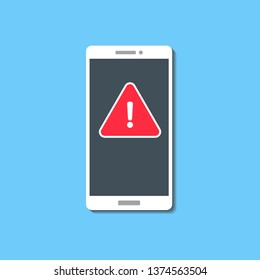 Malware notification or error on smartphone screen. Red alert, warning screen, red triangle, spam, insecure connection, scam, virus