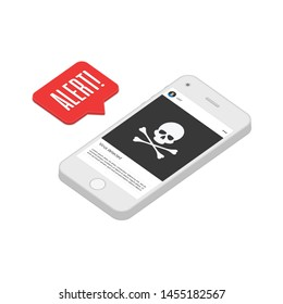 Malware notification on smartphone. Mobile phone with skull bones bubble speech red alert. Virus, alert message, spam attack or phone malware concept. Vector illustration EPS 10.
