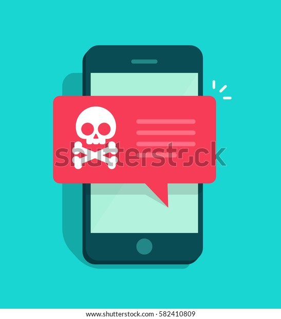 Malware notification on smartphone notice vector, flat mobile phone and skull bones bubble red alert, concept of spam data, fraud internet error message, insecure connection, online scam, virus