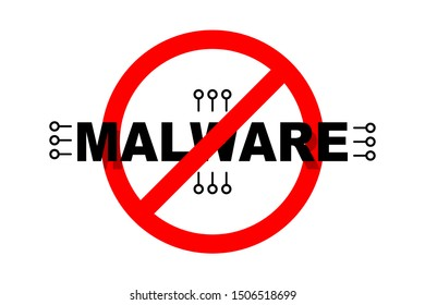 Malware protection icon. Internet safety concept. Flat icon. Isolated on white background.  Red circular cross on malware symbol.