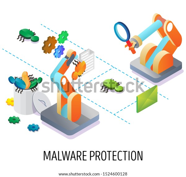 Malware Protection Vector Isometric Illustration Antivirus Stock Vector Royalty Free 1524600128