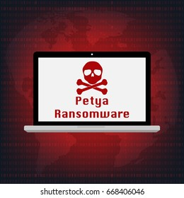Malware Ransomware Petya virus encrypted files on laptop computer screen with world map background. Vector illustration cybercrime and cyber security concept.