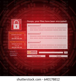 Malware Ransomware wannacry virus encrypted files and show massage for bitcon payment on binary code and gear background. Vector illustration cybercrime and cyber security concept.