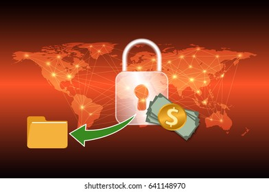 Malware Ransomware wannacry virus encrypted files graphic design for cybercrime and cyber security concept,Vector illustration