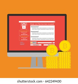 Malware Ransomware wannacry virus encrypted files and show massage for bitcon payment on computer PC display and bitcoins coins. Vector illustration cybercrime and cyber security concept.