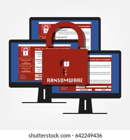 Malware Ransomware wannacry virus encrypted files and show massage for bitcon payment on computer PC display and red key lock ransomware. Vector illustration cybercrime and cyber security concept.