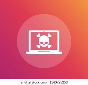 malware, spam data, fraud, insecure connection, online scam, virus vector icon, laptop and skull