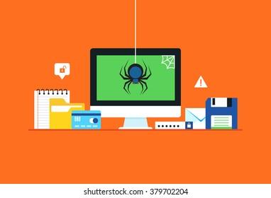 Malware, spyware, Virus attack. Flat design modern vector illustration concept.